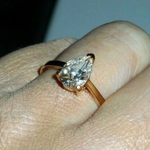 Jewelry - Pear Shaped CZ Solitaire Engagement Promise Ring